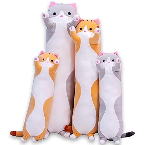 Katze Kuscheltier Stofftier Lange Katzen Kissen Plüschtiere, Kawaii große süße Cat Plüsch Sofakissen Geschenke für Freunde Kinder Dekoration (Orange, 130cm)