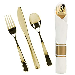 240 Pieces Pre Rolled Cutlery And Napkins Set with Heavy Duty Full Size Polished Gold Cutlery, 60 Forks, 60 Knifes, 60 Spoons, In Rolled Napkins, for Weddings, Parties And Events (B079G3T36V)   Amazon price tracker / tracking, Amazon price history charts, Amazon price watches, Amazon price drop alerts