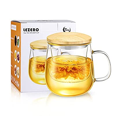 Lezero Glass Tea Infuser Cups with Strainer and Lid, 15 ounce Heat Resistance Borosilicate Glass Teacups for Blooming Tea & Loose Leaf Tea, Lead-free, Microwave & Dishwasher Safe - For Tea Lovers