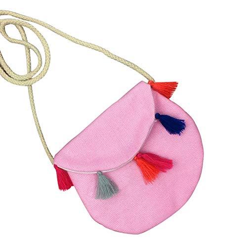 Dosige schoudertas met franjes, kindertassen, sleuteltas, kinderschoudertas, kleingeldbeurs, Violeta (Roze) - 36341V11CQ