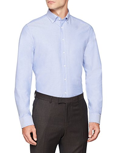 Seidensticker Herren Slim Langarm mit Button-Down Kragen Soft Uni Smart Business Businesshemd, Blau (Blau 13), Kragenweite: 40 cm