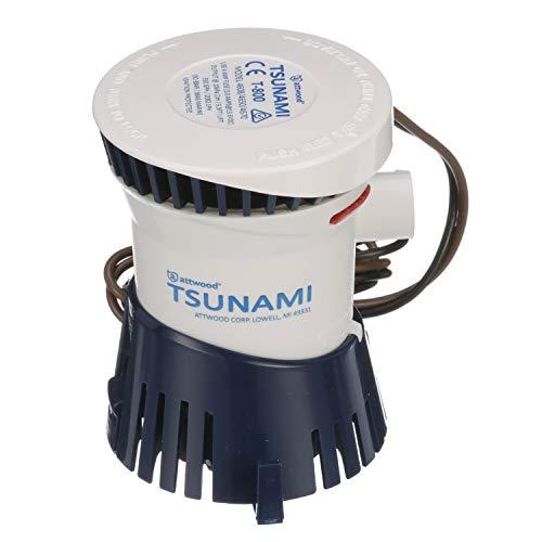 Attwood 4608-7 Tsunami T800 Bilge Pump, 800 GPH, 12-Volt, Barbed ¾-Inch Diameter Outlet, 29-Inch Wire