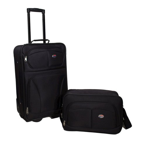 American Tourister Fieldbrook Softside Upright Luggage Set, Black, 2-Piece (bb/21)