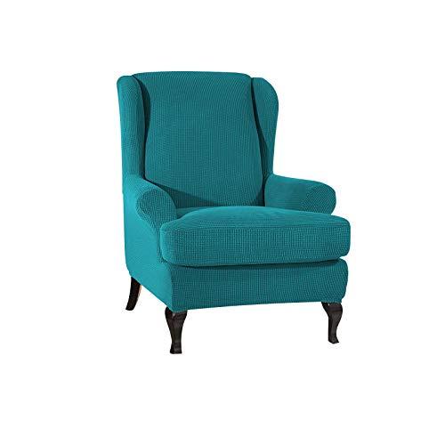 VanderHOME Stretch Sofabezug Ohrensessel husse ohrensessel bezug 1 Sitzer Stretch und antirutsch Sesselhusse Stretch sesselhussen Sessel bezug husse für ohrensessel Blau