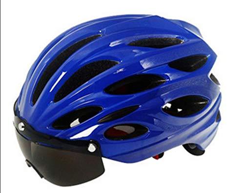 XYL Vélo de Nuit Casque de vélo CE avec LED Avertissement de feu arrière Lunettes de Soleil magnétiques Convient à VTT Casque de vélo de Route sécurité Protection Bleu Rouge Homme Femme,Blue