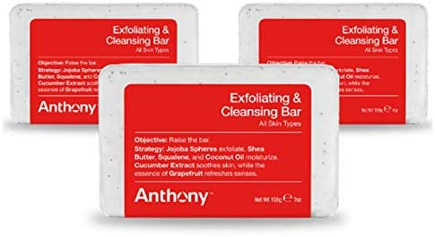 Anthony Exfoliating and Cleansing Bar Pack Of 3 Grapefruit 7 Oz Contains Jojoba Shea Butter product image