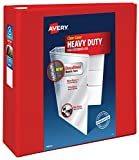 """Avery Heavy Duty View 3 Ring Binder, 4"""" One Touch EZD Ring, Holds 8.5"""" x 11"""" Paper, 1 Red Binder (79326)"""