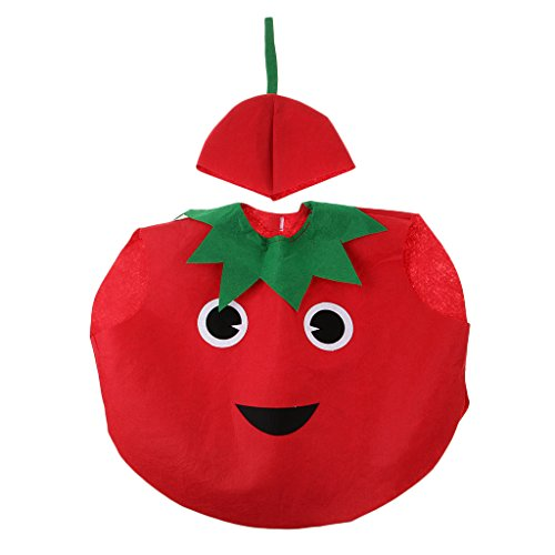 Traje Disfraz Tomate Vegetal Diseo de Cubierta Cuerpo Sombrero Vegetal Actuacin Bosque Atuendo Nios