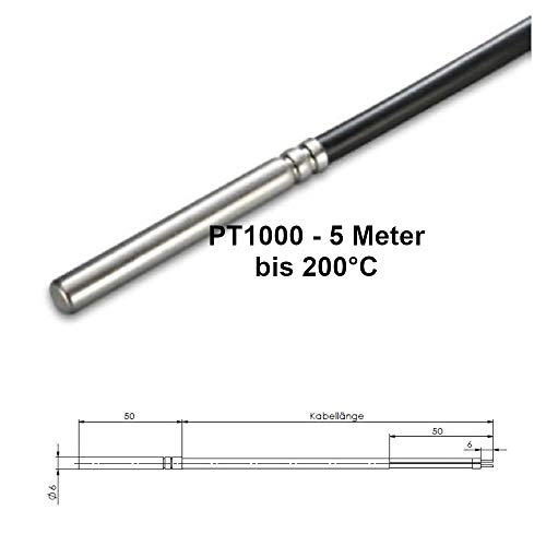 PT1000 Temperaturfühler - Speicherfühler/Kollektorfühler Solar Sensor - 5000mm