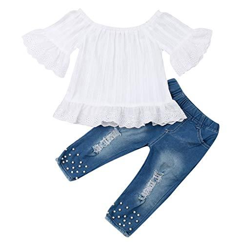 Geagodelia Ropa infantil para bebé, conjunto de ropa para bebé, conjunto de ropa de encaje, blusa + pantalones vaqueros, suave, C-10891 Blanco & Azul 924 3-4 Años