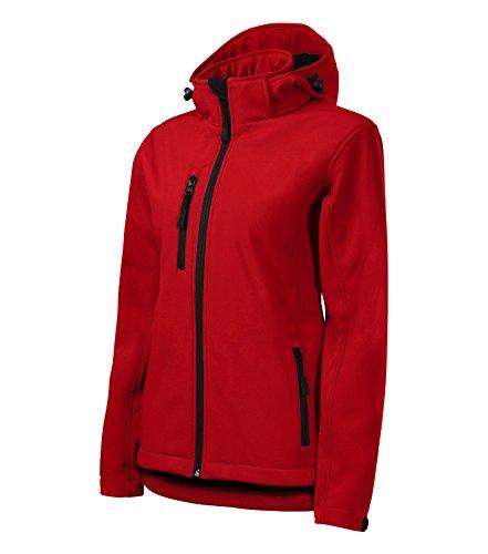 Adler Damen Softshelljacke/Regenjacke Performance Jacke mit Kapuze regendicht (XL, rot)