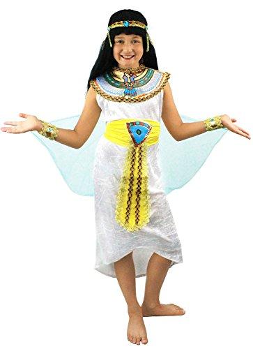 I LOVE FANCY DRESS LTD Déguisement de la Reine du Nil pour Enfant. Bandeau + Tunique Blanche + Voile transparant Bleue + Collerette coloré + Ceinture Jaune Or + Bracelets. (9-12 Ans)
