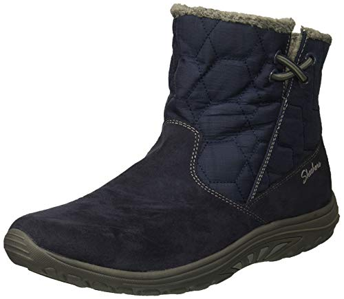 Skechers Women's Easy Going-Tribune-Double Zipper Bungee Bootie with Air-Cooled Memory Foam Ankle Boot, Navy, 10 M US