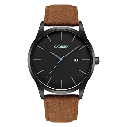 cadisen para hombre calendario minimalista negro Dial impermeable Ultra delgado reloj de pulsera con banda de cuero marrón