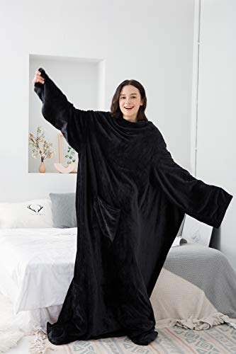 Winthome Long Fleece Blanket with Sleeves amp Foot Pockets Wearable Blanket Adult Cozy Soft Warm Functional(Black)