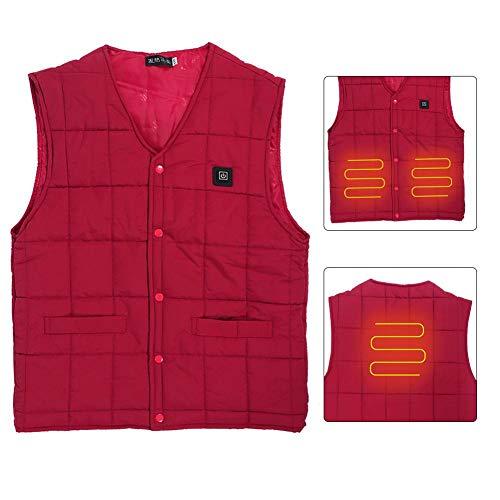 Beheizte Weste intelligente elektrische Heizung ärmellose Jacke im Freien einstellbar warm halten thermische Weste Mantel Winterkleidung Outfit(2XL)