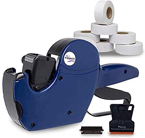 Perco Pro 2 Line Date Gun Labeler Kit, Includes 16 Digits Label Gun, 10,500 White Labels, Inker Remover Tool, and Pre-Loaded Ink Roll