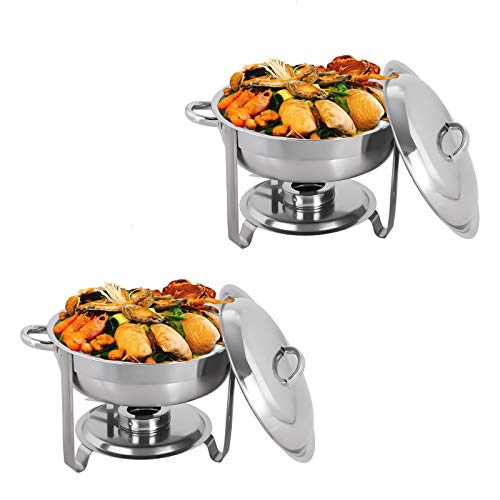 Display4top Runde Chafing Dish Set 3.5L Edelstahl Chafing Dish Set Buffet Silber Catering Wärmer Set, für Buffet Catering Küchenparty, 2 Pack