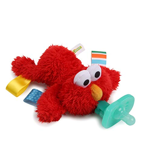 Bright Starts Sesame Street Cozy Coo Soothing BPA-Free Pacifier with Plush Toy - Elmo, Ages Newborn +