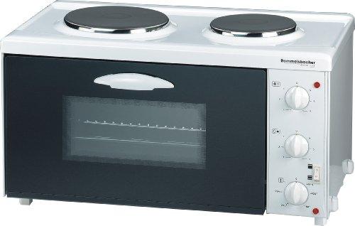 ROMMELSBACHER Kleinküche TK 2505 - 2 Gussheizplatten mit 7-Takt-Schalter, 22 Liter Backraum, Ober-/Unterhitze, Grill, CLEANemail Beschichtung, 3 Einschubebenen, Doppelverglasung, 2500 Watt, weiß