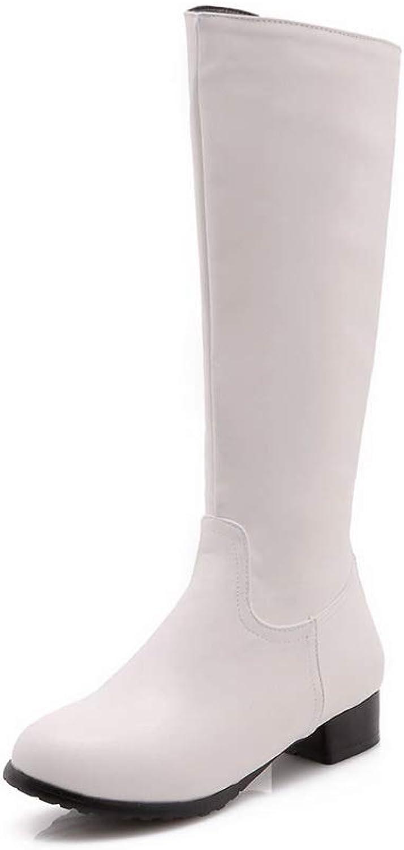 AN Womens Square Heels Zipper Urethane Boots DKU02297