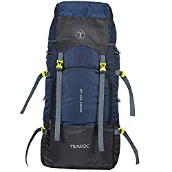TRAWOC Travel 55 Ltr Travel Backpack Camping Rucksack Hiking Trekking Bag (Black),TRAWOC