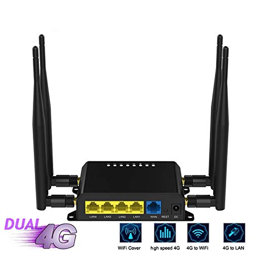 KAR Inteligente Router WiFi, 4 Modem Router Router inalámbrico de Alta Ganancia omnidireccional Antenas 4G de Alta Potencia de 300 Mbps Router WiFi LTE 5DBI Externo con Doble Tarjeta SIM Solt