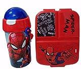 Cantimplora de Agua Infantil de Spiderman + Fiambrera sandwicheras con 3 Compartimentos para niñas niños, Botella plastica a Prueba de Fugas sin BPA Termo 500 ml Azul