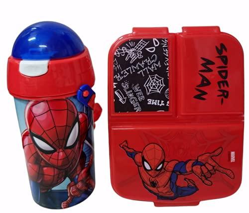 Cantimplora de Agua Infantil de Spiderman + Fiambrera sandwicheras con 3 Compartimentos...