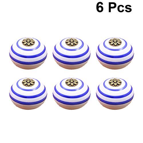 DOITOOL 6 pièces boutons de meubles en céramique pour poignée de tiroir avec vis visserie vintage pour armoires à tiroirs commodes vintage pour meubles de cuisine (cercle bleu,sans base noire)