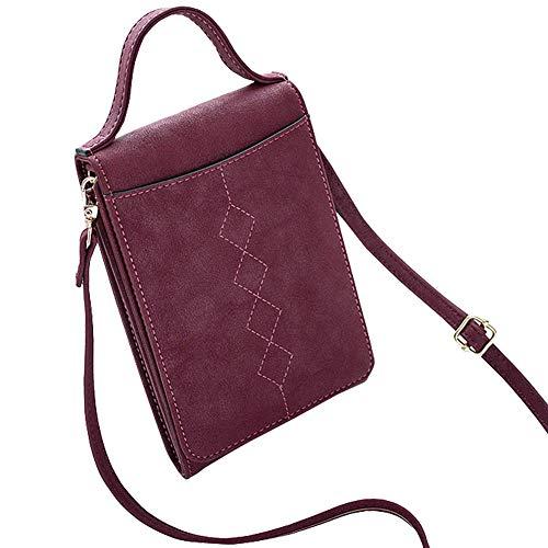 Coopay Kleine Damen Handtasche, Schick Clutch Umhängetasche,Tragbar Abendtasche Schultertasche,Wasserdicht PU Leder Crossbody,Handytasche zum Umhängen Geldbörse Tasche Brieftasche,Vintage Weinrot