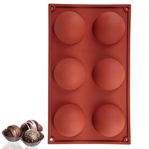 1 Pcs 6 Holes Silicone Mold for Chocolate, Cake, Jelly, Pudding, Round Shape Half Candy Molds BPA...