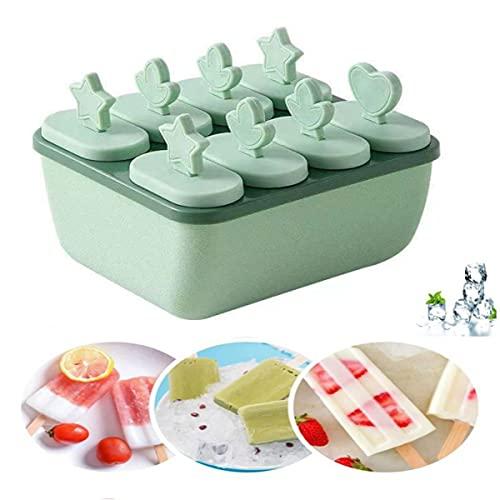 Mini Moldes para Helados Palitos,Moldes para Helados y Polos Sin BPA, 8pcsMolde Reutilizables para Hacer Helados Caseros,para Niño,Bebés y Adultos(verde )