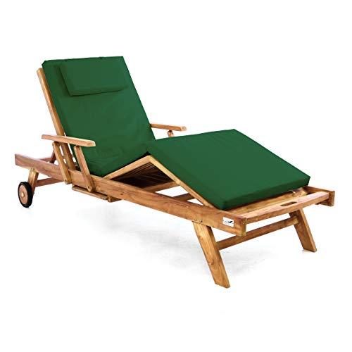 Nexos Trading Divero Sonnenliege Holzliege Gartenliege Teak-Holz behandelt mehrfach verstellbar inkl. Räder Tablett + Liegen-Auflage 4-teilig wasserabweisend dunkelgrün