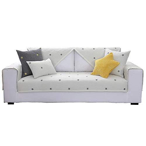 Casa Protector de Muebles,Fundas de sofá con Bordado de Estrellas, Funda de sofá nórdica Moderna, Protector de sofá Antideslizante de algodón, Funda de Muebles-Blanco_El 110 * 110cm