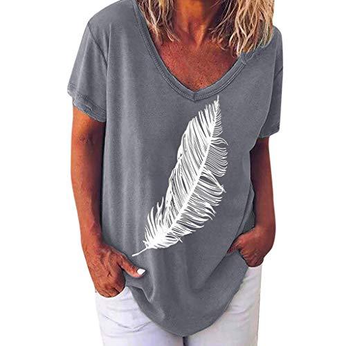 Shinehua T-shirt met korte mouwen voor dames, zomer, losse vleermuismouwen, T-shirt, tuniek-shirts, casual, V-hals, blouse, korte mouw, longshirt, tops, elegant, bloesshirts, veer, dierpatroon Small grijs