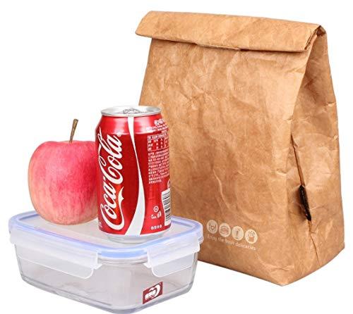 SAMERIO Lunch-Taschen Kühltasche Isolierte Retro Style Set Für Mädchen Kinder Frauen Erwachsene Jungen Muttermilch Reusble Papier Dicht Umwelt Tyvek Griff Tasche Gehen Arbeit Picknick Shool(Brown-D)