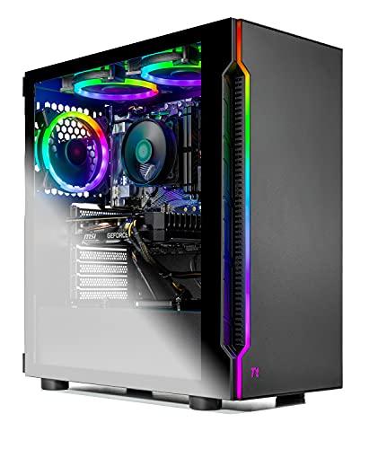 SkyTech Shadow Gaming Computer PC Desktop - Ryzen 5 3600 6-Core 3.6GHz, 1660 Super 6G, 1TB SSD, 16GB DDR4 3000, A520 MB, RGB Fans, AC WiFi, Windows 10 Home 64-bit, Black
