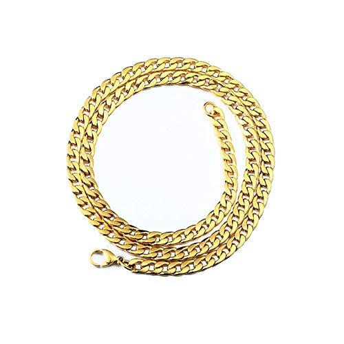 Epinki Acero Inoxidable 5MM Cadena Collar para Hombre Oro Bordillo Cadena Hip Hop Punk Collar Largoitud 65CM