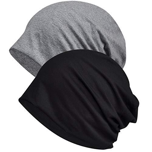 WELROG Chemo Hat Mütze für Frauen Kopftuch Superweicher Slouchy Turban Kopfbedeckung Kopfwickel Chemo Headgear Head Wraps Schlafhut gegen Krebs und Haarausfall Schwarz + Grau(Doppelschicht)