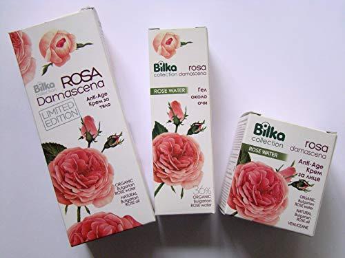 Rose - Juego de 3 productos antiedad con agua de rosas orgánica: crema corporal + crema facial + gel para contorno de ojos