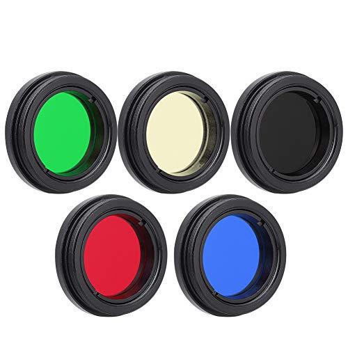 Yosoo Health Gear 1,25-Zoll Teleskopfilter Mit Hohem Kontrast Optische Linse, Teleskop Mondfilter Okularfilter Set 1,25-Zoll Rot Blau Gelb Grün Schwarz Farbe Für Die Beobachtung des Mondplaneten