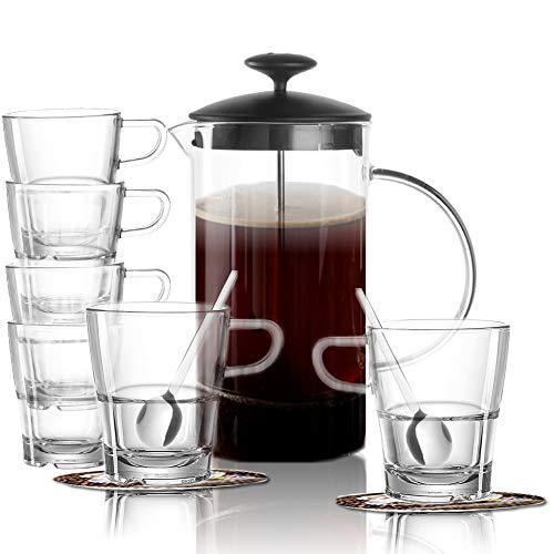 Glaskoch Leonardo Kaffeset 13 TLG, Kaffeeaufbereiter + 6 Tassen + 6 Löffel und 6 Dekokaufhaus Untersetzer