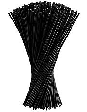 FEPITO 150 Stks Zwarte Diffuser Sticks Olie Geurverspreider Sticks Fibre Riet Sticks 24 cm x 3mm