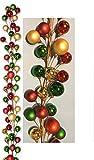 Holiday Essentials Christmas Ornament Ball Garland - 6 Foot Length