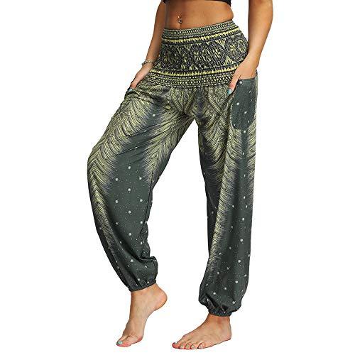 Nuofengkudu Donna Harem Hippie Pantaloni con Tasche Boho Print Vita Alta Larghi Leggeri Indiani Yoga Pants Estivi Spiaggia (Verde B,Taglia Unica)