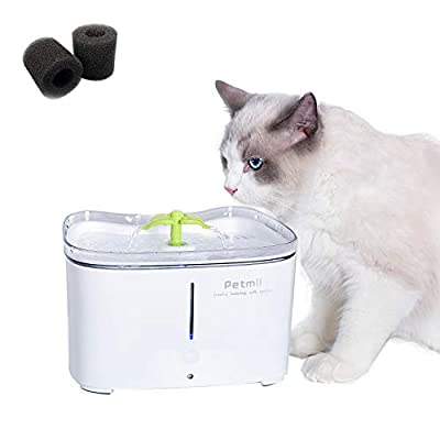 Petmii Pet Fountain, 88oz/2.6L Automatic Cat Water Fountain Dog Water Dispenser with 2 Replacement Filters for Cats, Dogs, Birds and Small Animals (White Fountain)
