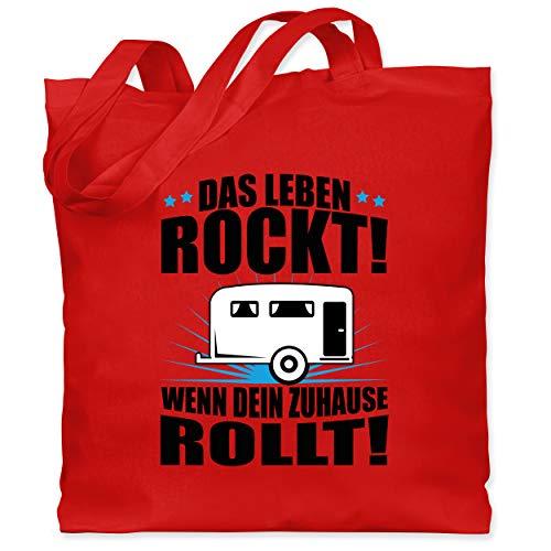 Shirtracer Hobby - Das Leben rockt! Wohnwagen schwarz - Unisize - Rot - Statement - WM101 - Stoffbeutel aus Baumwolle Jutebeutel lange Henkel