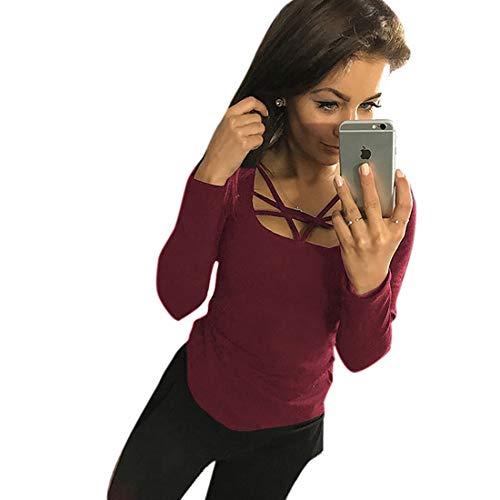 Parabler Damen Herbst Langarmshirt Shirt Blusen Hemd Oberteil Tops Lang Sleeve Baumwoll T-Shirt mit Cross-Ausschnitt (Weinrot, EU 40/L)