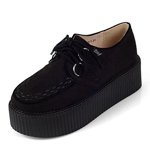RoseG Women's Handmade Suede Lace Up Flat Platform Creepers Shoe Black 9.5